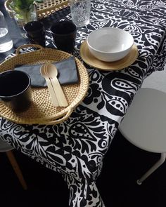 T a b l e d e c o r/  #tabledecor #tablesetting #marimekko #blackandwhite #mustavalkoista #wood #naturalvibes #photography #styling… Marimekko, Table Settings, Table Decorations, Wood, Photography, Instagram, Design, Art, Art Background