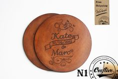 3rd Leather Anniversary Gift,Personalized Leather Coasters Set,Gift for Him,Present for her