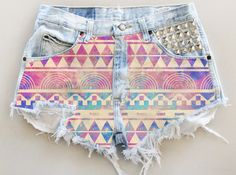 ANY COLOR Aztec Galaxy Print Ripped Frayed Denim High-Waisted Shorts (UV8). $35.00, via Etsy.