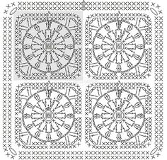 7+ (557x534, 306Kb) Crochet Quilt, Crochet Chart, Crochet Squares, Crochet Granny, Crochet Motif, Crochet Flowers, Crochet Stitches, Knit Crochet, Crochet Patterns