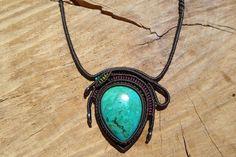 chrysocolla macrame necklace,chrysocolla cabochon macrame pendant,blue stone necklace,healing gemstone,thread necklace,macrame jewelry,boho by ARTEAMANOetsy on Etsy