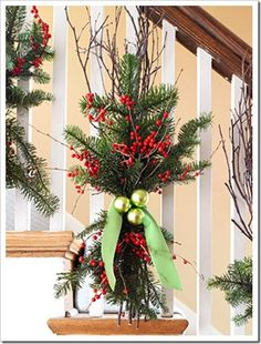 super cute and unique Christmas stairway decor