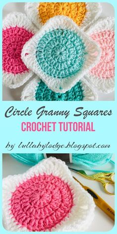 Learn how to crochet a circle granny square with this easy tutorial by Lullaby Lodge. Step by step instructions suitable for beginners. # how to crochet a circle How to turn your circles into granny squares - Crochet tutorial by Lullaby Lodge Easy Granny Square, Granny Square Tutorial, Granny Square Projects, Granny Square Häkelanleitung, Square Blanket, Granny Square Crochet Pattern, Crochet Blocks, Crochet Squares, Crochet Blanket Patterns