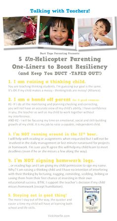 """Here are 5 one liners to help parents build resiliency in their children and avoid being """"helicopter parents"""" (and enjoy evenings, mornings & weekends far more!)"""