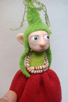 pissed off Christmas Elf pixie FAIRY (31 ) ooak poseable art doll by DinkyDarlings by DinkyDarlings on Etsy