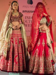 Fuchsia Pink Lehengas with Heavy Embroidery and Contrast Dupatta and Blouse - Anju Modi - Amazon India Couture Week 2015