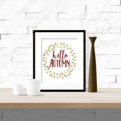 Hello Autumn with Gold Wreath Red Printable Artwork - 8x10 Digital Download by theorangeleaf on Etsy