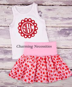 Strawberries Yoga Waist Twirl Skirt with (optional) Glitter Monogram Tank Top-