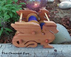 Dragon Kate Lazy Kate Bobbin holder by TheChainedEwe on Etsy Spinning Wool, Hand Spinning, Spinning Wheels, Really Cool Gadgets, Danish Oil Finish, Yarn Animals, Purple Heart Wood, Fiber Art, Men's Knits