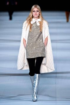 Runway Looks We Love: Our 100 Favorite Looks from London, Milan, and Paris Fashion Week Fall/Winter 2014 - Saint Laurent: Paris from Saint Laurent Paris, 1960s Fashion, High Fashion, Fashion Show, Fashion Week Paris, Runway Fashion, Fashion Trends, Fashion Weeks, Ysl
