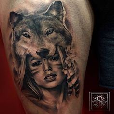 Tattoo Filter — Native american girl with a wolf hat tattoo on the...
