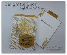 Nicole's card in a bag: Lighthearted Leaves, In Color Envelope Paper, Leaflets framelits, Mini Treat Bag Thinlits, & more - all from Stampin' Up!