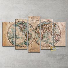 Vintage Dünya Haritası 5 Parça Kanvas Tablo   Indirim 99,00 TL ve ücretsiz kargo ile n11.com'da! Plustablo Kanvas Tablo fiyatı Dekorasyon