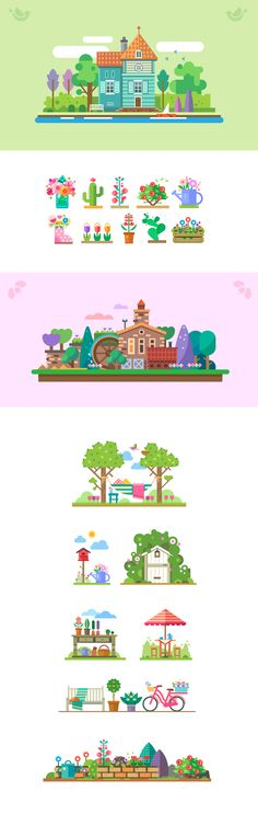 Vector garden story by Secret Lab Maps Design, Bg Design, Design Ios, Vector Design, Vector Art, Site Design, Flat Design Illustration, Garden Illustration, Illustration Vector