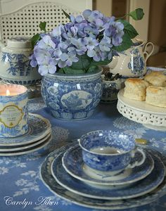 Blue & White Dishes.  I like the shape of the cups