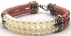 Vintage Pink Leather Bracelet with Freshwater Pearls Sterling Silver