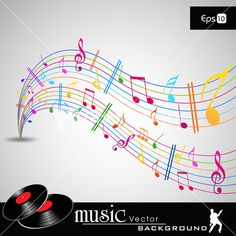 Note And Sound Waves. Musical Colorful Wave Line Of Music Notes Background 10