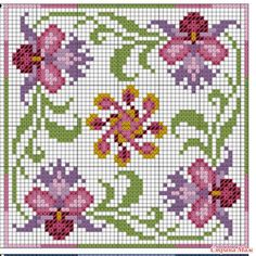 """Cross-stitch Floral Biscornu, part 2... no color chart available, just use pattern chart as your color guide.. or choose your own colors... Бискорню """"Тайланд"""""""
