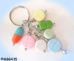Pill Key Ring  Handmade Polymer Clay PILL Beads by mybeadgarden, $12.00