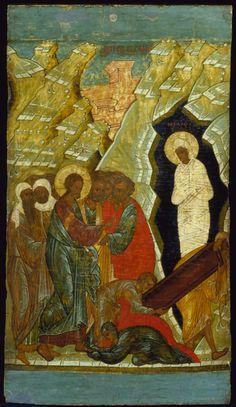 Raising of Lazarus, 1400-1420 Russian Byzantine Style Russia, Novgorod School Tempera and gold leaf on wood 22 1/8 × 12 1/2 × 1 in. (56.2 × 31.8 × 2.5 cm) Painting 1985-057.31 DJ www.menli.org