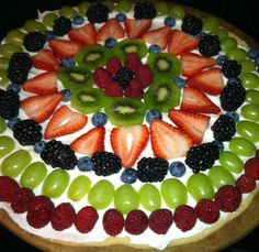 Fruit Pizza! Sugar cookie, cream cheese icing, any fruit you wish