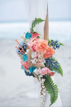 Carlsbad CA beach wedding chuppah flower decoration