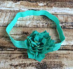 Tropic Green Kanzashi Flower Elastic Headband by PinkSunshinePretties on Etsy