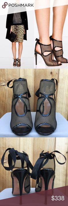 """Aquazzura Sexy Thing mesh fishnet sandal booties 7 100% authentic Aquazzura booties, size 37. There is slight wear on the soles, otherwise these are in excellent condition! I also had them resoled for traction/longevity.  Comes with dust bag. From the FW 2013 collection.  Signature Aquazzura booties take a sporty turn with contrasting mesh and patent leather trim. Polished aglets accent the lace-up closure behind the heel.  * Mesh upper with leather sole * Made in Italy * 4.5"""" patent leather…"""