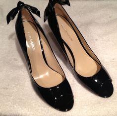 Enzo Angiolini Mistle Sexy Peep Toe Lace Up Back Bow Patent Leather Size 10 M #EnzoAngiolini #OpenToe