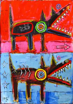 DOG by Matt Sesow. Matt is such a nice guy.  You can read my interview with him and see his work, sketches and studio/home in my magazine #art #outsiderart #rawbrut #outsiderartist #rawart #painter  #americanartist #raw #outsider #folkart #washingtondc #mattsesow #sesow #painting #dog