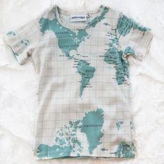 mini rodini organic map tee by mini rodini $38.00 short sleeve tee with allover world map print. 100% organic cotton, imported.