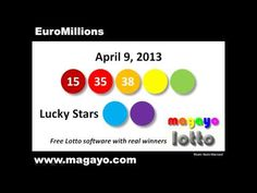 EuroMillions drawing results for April 9, 2013. Get the latest and historical EuroMillions results @ http://www.magayo.com/lottery/results_uk_euromillions.php