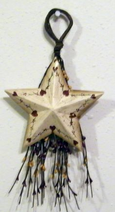 Primitive Berry Swag METAL STAR HEARTS sign  Decor by carolalden, $8.95