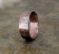 Copper Hammered Ring Antique Band Copper Wedding Ring Rustic Wedding Band || I quite like this. Something he could wear to work in lieu of his wooden ring.