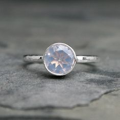 Luminous lavender moonstone is faceted to catch the light. Tube set in sterling silver and polished to a bright shine. Sterling silver band is Drop, Delicate Rings, Rings Cool, Quartz Ring, Quartz Jewelry, Moonstone Ring, Diamond Cluster Ring, Unique Earrings, Ferret