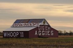 This barn is a little famous if you live in Central Texas. It's known as The Aggie Barnand it gets repainted and updated to reflect new graduating years. It's located on Highway 6 between Marlin and Calvert.  Photo courtesy of Carol Von Canon  our blog:  www.texastravelblog.us