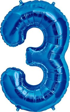 """Giant Blue Foil Number 3 Balloon 34"""""""