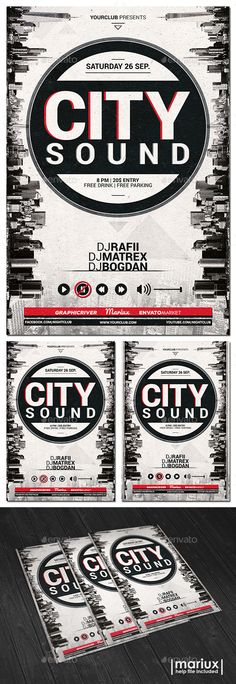 City Sound Party Flyer Template PSD #design Download: http://graphicriver.net/item/city-sound-party-flyer/12950292?ref=ksioks