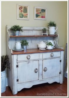 This 12 dollar thrift store hutch gets a major facelift! This early 20th century Imperial Loyalist Hutch had me at hello.  Pulling up to the store front window, I knew she was coming home with me.
