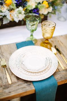 Place Setting | See the Inspiration on #SMP Weddings: http://www.stylemepretty.com/2013/06/21/van-gogh-inspired-shoot-from-orange-blossom-special-events-birds-of-a-feather/  Birds of a Feather Photography