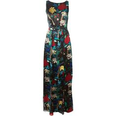 Alice+Olivia floral print evening dress (1.990 BRL) ❤ liked on Polyvore featuring dresses, black, botanical dress, colorful dresses, floral cocktail dresses, silk cocktail dress and floral print dress