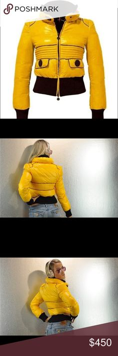 """MONCLER """"CLARISSE"""" DOWN BOMBER JACKET, Medium, (2) Clarisse is horizontally quilted with a down fill. Lightweight yet ultra-warm, 4"""" ribbed stand collar, ribbed cuffs and hem. The down-filled outer stand collar is 3"""" tall and secures with a large black button. The jacket is made feminine with a 3 1/2"""" horizontally stitched empire line and lightly puffed shoulders, it's made sporty with its flap pockets with large black buttons and hidden snap closures. The outer fabric is slick and shiny…"""