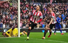 Connor Wickham of Sunderland celebrates scoring his second goal with John O'Shea of Sunderland during the Barclays Premier League match betw...