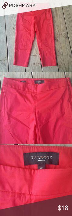 Talbots curvy fit capri pants Red, cotton/spandex, curvy fit, side zip, Petite 6 Pants Capris