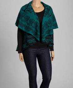 Look what I found on #zulily! Black & Green Abstract Open Vest by La Cera #zulilyfinds