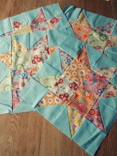 Half Square Triangle and Square Patchwork Star Quilt Blocks Inspiration