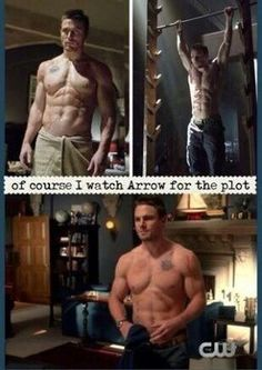 Shirtless Oliver is a sight.