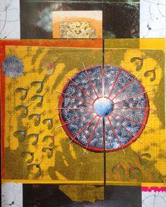 Nino Bellantonio. 'Chiodo; Umbrella' (Collage with mixed media and cold wax on canvas board, 36cm x 46cm; 49cm x 59cm in archival quality frame). SOLD