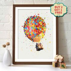 Pixar Movie Poster - Up Up Pixar, Pixar Movies, Countries Of Asia, Disney Movie Posters, Woody And Buzz, Avengers Movies, Poster Wall, Happy Shopping, Watercolor Art