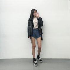 korean fashion navy shorts shirt white blue casual street cute